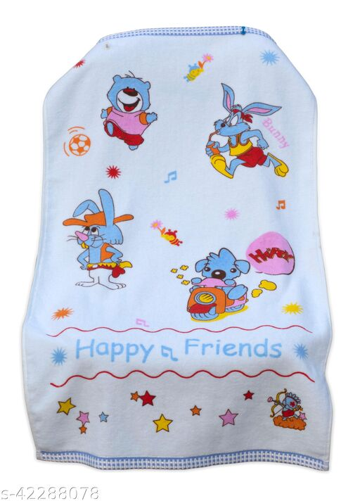 Uber World Baby  Kids Toddlers Cotton Towel One Sided Terry  Absorbent Cute Bunny Super Soft, 89 by 50.8 CMS,Sky Blue, Pack  of  1