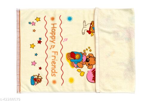 Uber World Baby  Kids Toddlers Cotton Towel One Sided Terry  Absorbent Cute Bunny Super Soft, 89 by 50.8 CMS,Yellow, Pack  of  1