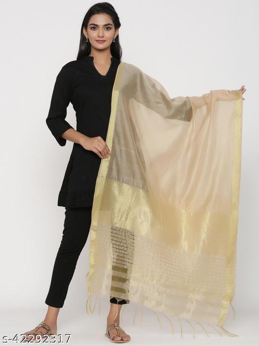 Rangmayee Beige & Zari Woven Design Chanderi Dupatta