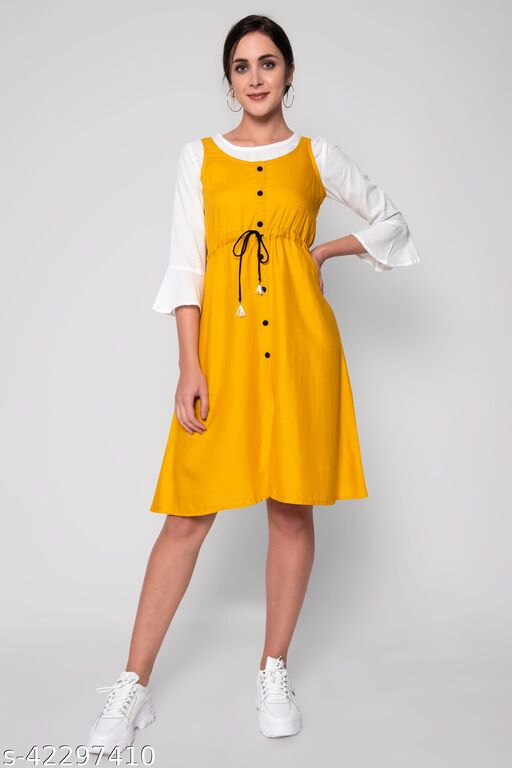 Yellow Colored Rayon  Dungarees With White Top