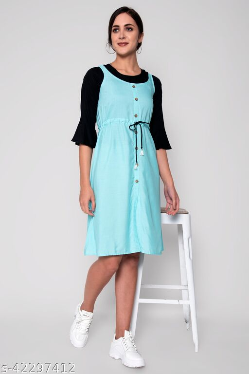 Light Sky Blue Colored Dungarees With White Top
