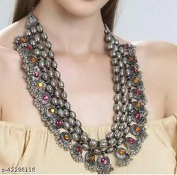 Trendy designer tribal mirror necklace