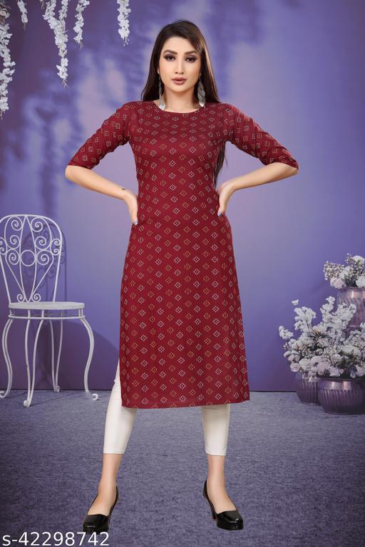 Women Amazing Printed Rayon Straight Kurti
