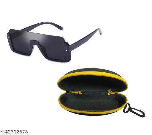 Adhvik Unisex Black Color Square Half Rim Sunglass Inspired from Shahid Kapoor and Sahil Khan Sunglasses