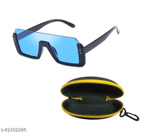 Adhvik Unisex Blue Color Square Half Rim Sunglass Inspired from Shahid Kapoor and Sahil Khan Sunglasses