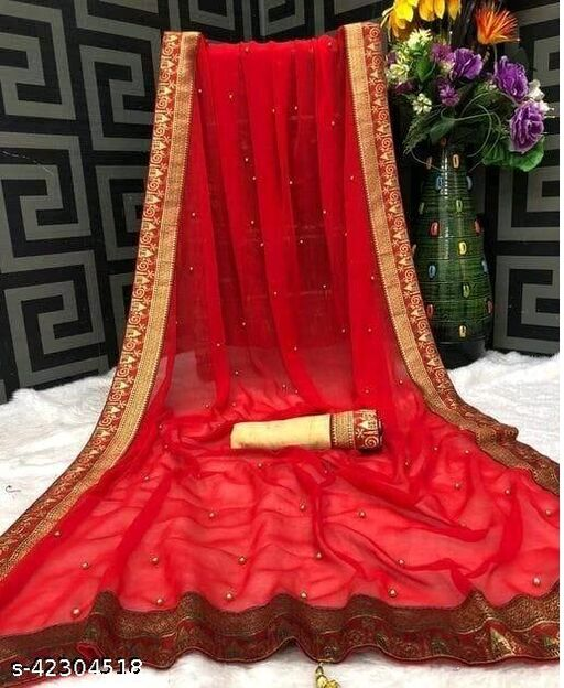 Yugin Women's Georgette Moti Work And Jacquard Lace Border Party And Wedding Wear Saree (Red)