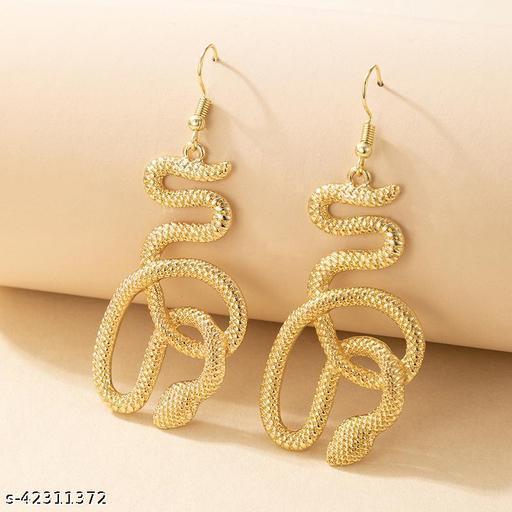 Gold Plated Snake Women Earrings