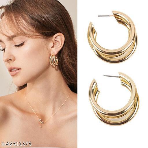 Irregular Semicircular Metal Ear Stud Earrings