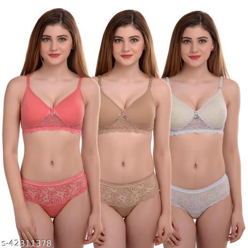 Women Solid Multicolor Cotton Lingerie Set (Pack of 3)