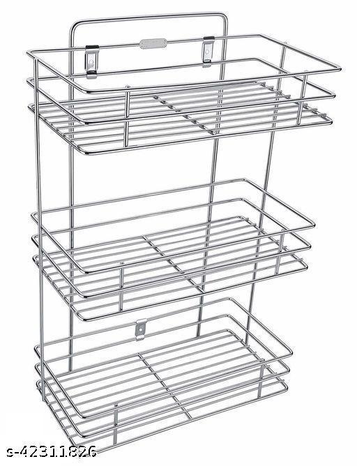 Winstar Stainless Steel Vegetable Basket For Kitchen Wall | Mounted Kitchen Rack | Kitchen Organizer | Wall Shelf ( 3 Layer )