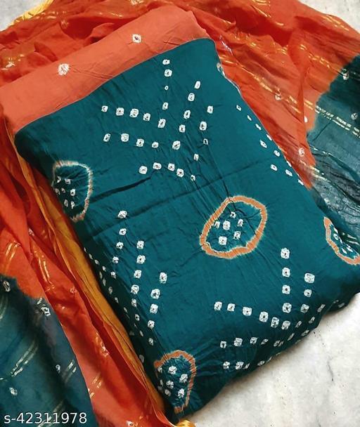 Kimisha Women's Rama Pure Cotton Bandhani Print Unstitched Dress Material