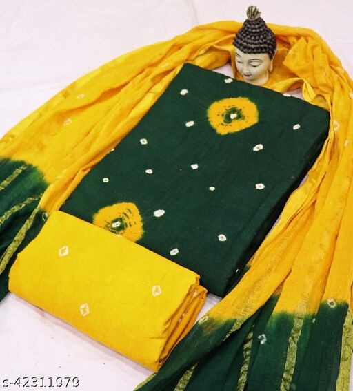 Kimisha Women's Green Pure Cotton Bandhani Print Unstitched Dress Material