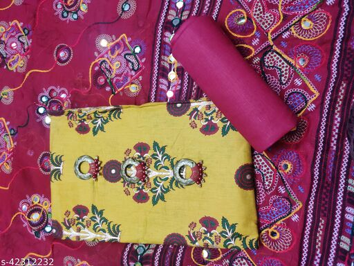 Cotton printed Salwar Suit Material with Embroidered Dupatta  (Unstitched)