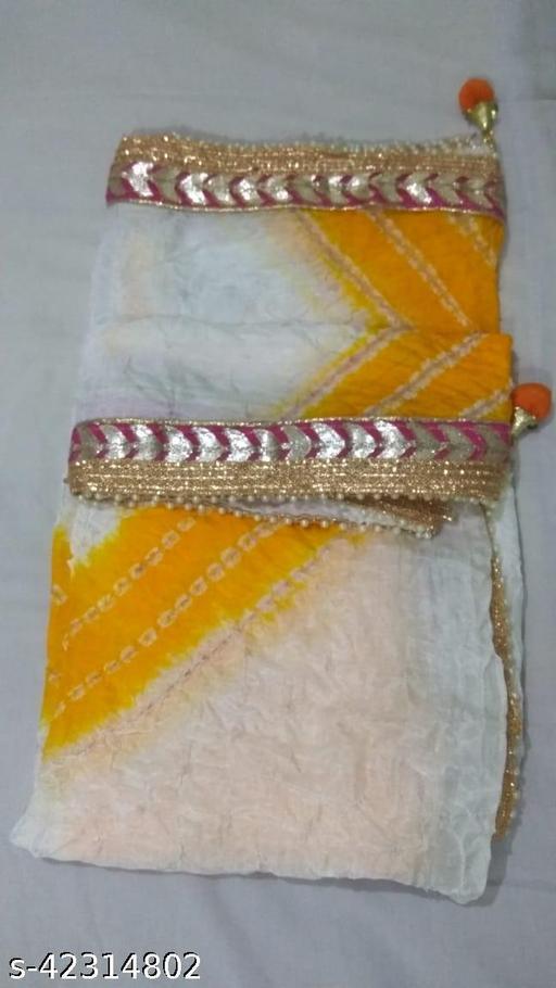 Art Silk Printed Bandhej Dupatta with Gota Patti Motiladi Border Work for Womens and Girls