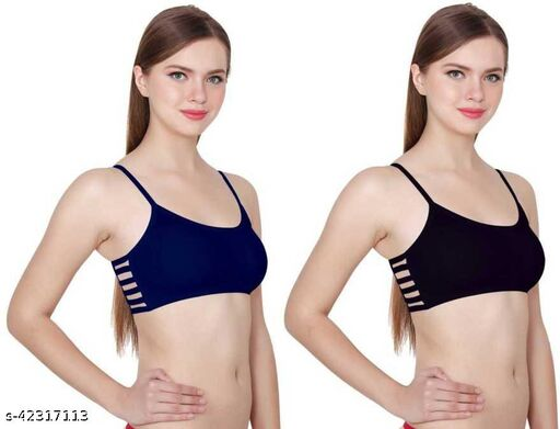 6 strap removable padded bra  pack of 2 navy black