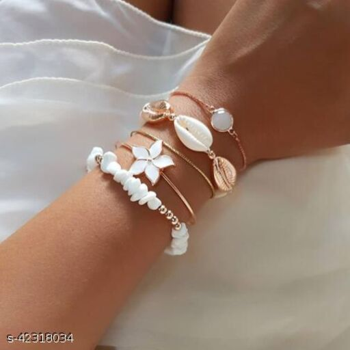 Arzonai  new bracelet European and American ins wind flower natural shell gravel crystal 5-piece bracelet female