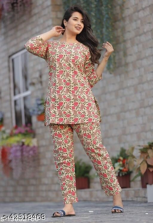 RAYON PREETY LOOK FLOWER PRINTED NIGHT SUITS FOR WOMEN & GIRLS