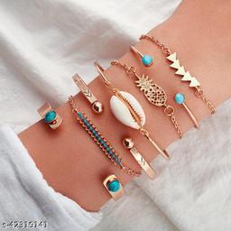 Arzonai European and American personality fashion popular bracelet bracelet simple bohemian style pineapple shell bracelet 7-piece female