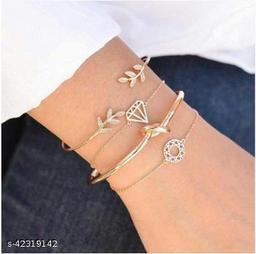 Arzonai new style retro leaf knotted hollow diamond ladies bracelets bracelets bracelet combination set wholesale