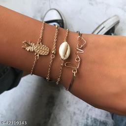 Arzonai  Creative European and American Fashion Jewelry Hawaiian Pineapple LOVE Shell Bracelet Set Naizhu Jewelry