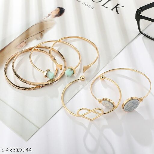 Arzonai Cross-border New Bracelet Bohemian Cross Love Turquoise Disc Open Bracelet Set of 6