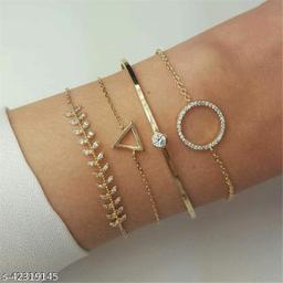 Arzonai Popular Fashion Full Diamond Circle Leaf Triangle Bracelet Bangle Combination Four-piece Set Women's