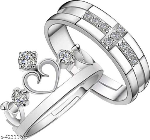 Crown Queen & King Adjustable Couple Ring Set For Women