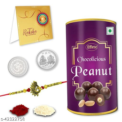 Rakshabandhan Multicolor Rakhi Combo With Chocolate,Roli chawal, Pooja Coin & Greeting