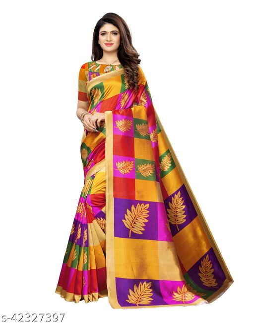 Poly Silk Printed Beige Saree