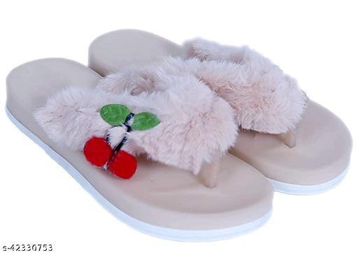 WMK Kids Comfortable Indoor & Outdoor Fur Slippers Flipflops for Girls - Pink