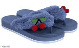AaoJao Kids Comfortable Indoor & Outdoor Fur Slippers Flipflops for Girls - Grey (1902 Cherry V Shape_Grey-AJO)