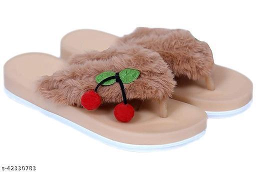 AaoJao Kids Comfortable Indoor & Outdoor Fur Slippers Flipflops for Girls - Brown (1902 Cherry V Shape_Brown-AJO)