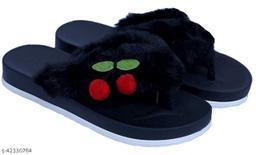 AaoJao Kids Comfortable Indoor & Outdoor Fur Slippers Flipflops for Girls - Black (1902 Cherry V Shape_Black-AJO)