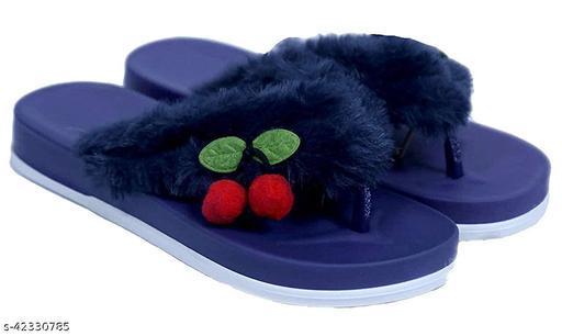 AaoJao Kids Comfortable Indoor & Outdoor Fur Slippers Flipflops for Girls - Navy Blue (1902 Cherry V Shape_Navy Blue-AJO)