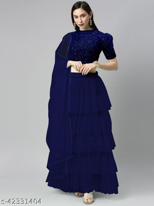 BHAVYA FASHION Women's Net Embroidered Full stitched Lehenga,unstitched blouse and Dupatta Set_NEVY BLUE
