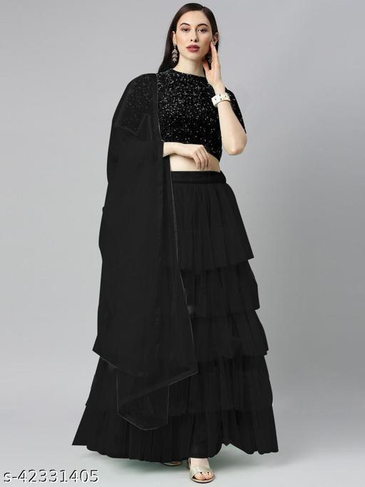 BHAVYA FASHION Women's Net Embroidered Full stitched Lehenga,unstitched blouse and Dupatta Set_BLACK