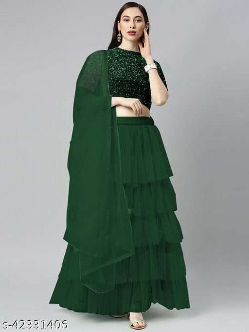 BHAVYA FASHION Women's Net Embroidered Full stitched Lehenga,unstitched blouse and Dupatta Set_GREEN