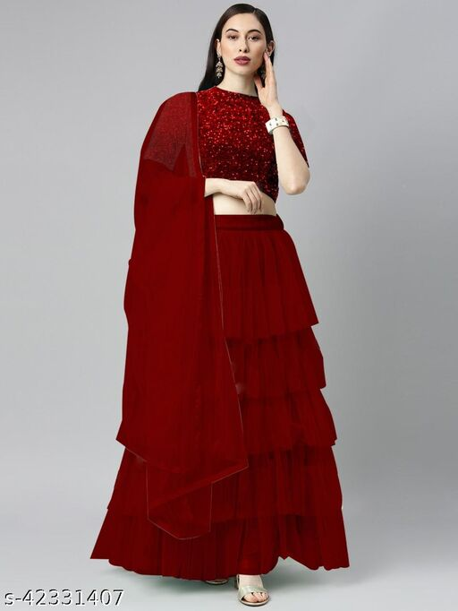 BHAVYA FASHION Women's Net Embroidered Full stitched Lehenga,unstitched blouse and Dupatta Set_RED
