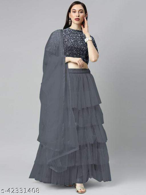 BHAVYA FASHION Women's Net Embroidered Full stitched Lehenga,unstitched blouse and Dupatta Set_GREY