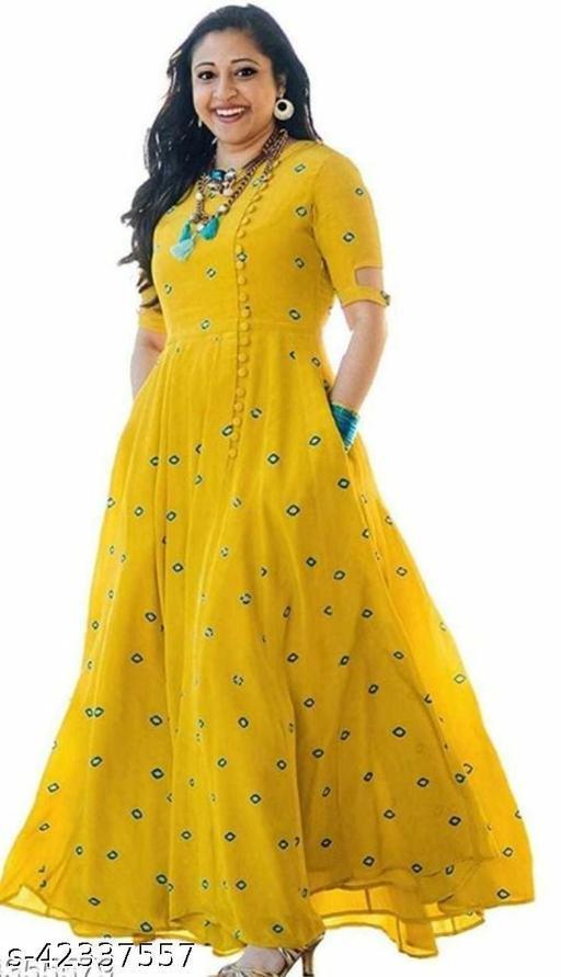 Rayon Women Anarkali kurti trending Yellow color