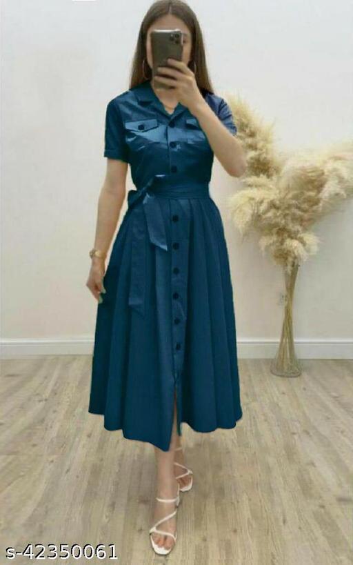 Women's Solid Heavy Rayon Dark Rama Color Dresses