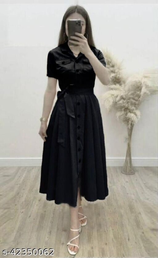 Women's Solid Heavy Rayon Black Color Dresses