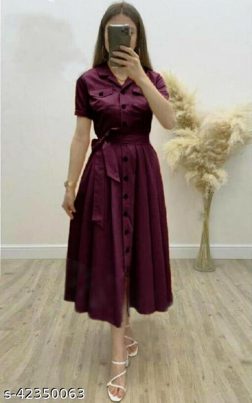 Women's Solid Heavy Rayon Wine Color Dresses