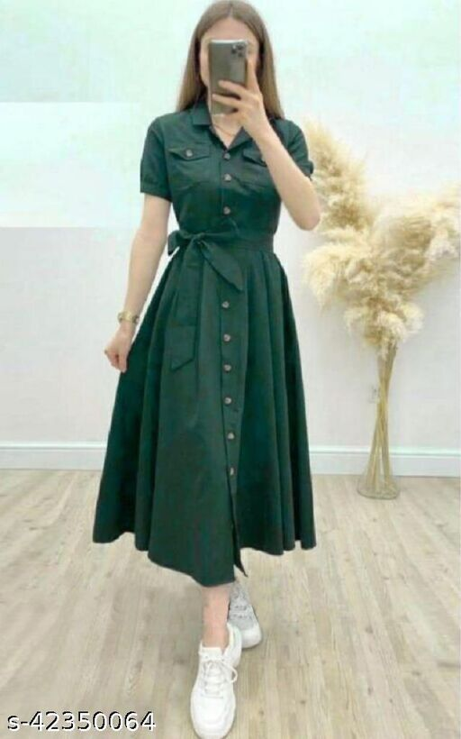 Women's Solid Heavy Rayon Green Color Dresses