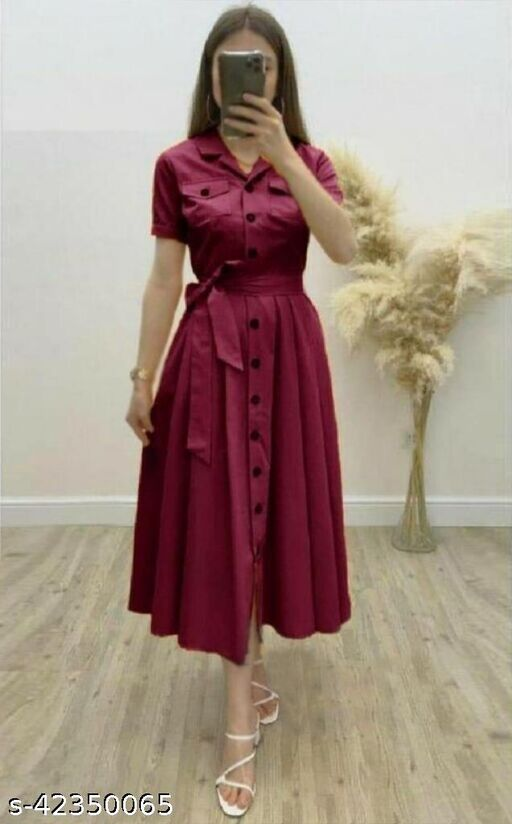 Women's Solid Heavy Rayon Maroon Color Dresses