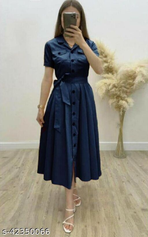 Women's Solid Heavy Rayon Blue Color Dresses