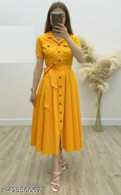Women's Solid Heavy Rayon Yellow Color Dresses