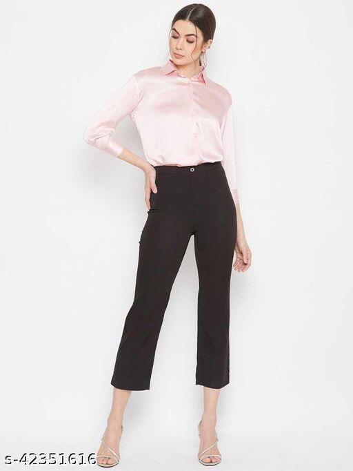 Women Button-Down Satin Formal  Shirt
