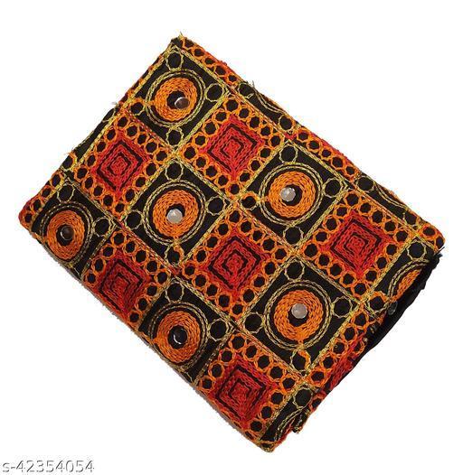 Women's Rajasthani Jaipuri Art Silk Satin Wool Thread & Mirror Work Bridal Blouse Material  (1 Piece)