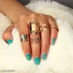 Leaf Heart Geometric 5PCs Ring Set Open Ring Knuckle Ring